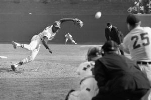 Bob Gibson strikes out Norm Cash in the 1968 World Series